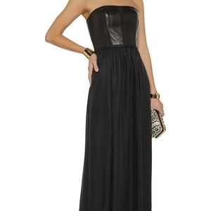 NWT Rebecca Taylor Leather Maxi Dress Gown Black